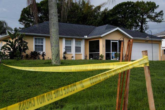 Police tape around Brian Laundrie's home (Alamy)
