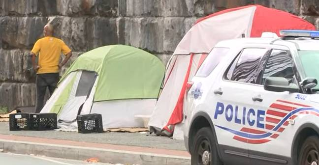 DC officials said they'd checked the tents prior to clearing (WUSA9/YouTube)