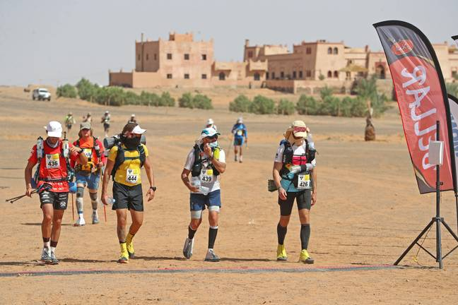 Marathon Des Sables- 4th October 2021; Tisserdimine to Kourci Dial Zaid; Marathon des Sables, stage 2 of a six-day, 251 km ultramarathon, which is approximately the distance of six regular marathons. The longest single stage is 91 km long. This multiday race is held every year in southern Morocco, in the Sahara Desert. Blai Llopis Aulet (FRA), Juan Miguel Lopez Cartagena (ESP), Sebastien Lecor (ESP) and Manuel Vela Monsserat (ESP)